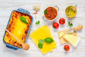 Italian Cuisine Lasana with Cooking Ingredients