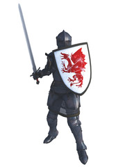 Medieval Knight with Red Dragon Shield - fantasy illustration