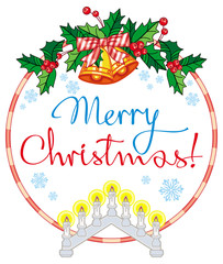 """Holiday label with light candle arch and greeting text: """"Merry Christmas!""""."""