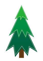 simple cartoon Christmas tree on a white background