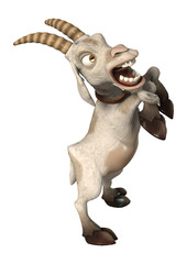 3D Rendering Goat on White