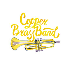 Watercolor misic lettering calligraphic inscription - copper brass band