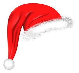 Cartoon Santa hat isolated on white