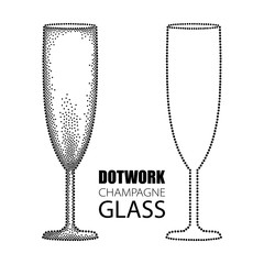 Vector illustration with dotted champagne glass or flute in black isolated on white background. Transparent champagne glass for wine, winery and restaurant design in dotwork style.
