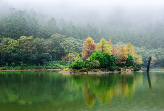 Forest lake in autumn. Mingchi Forest Recreation Area in Yilan, Taiwan