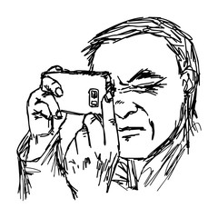 illustration vector hand drawn man taking a photo with mobile phone