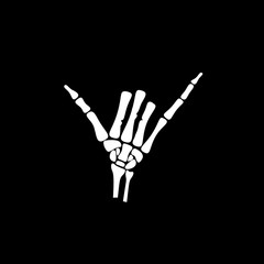White hand bone show the number six in chinese hand sign in black background