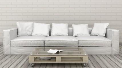 Modern minimalistic design of sofa. 3d render