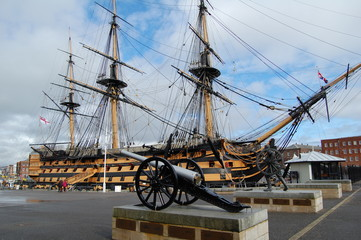 Exterior view of the HMS Victory in harbor in Portsmouth, Hampsh