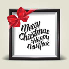 Picture frame with red bow and text. Christmas holiday card. New Year. Vector illustration.
