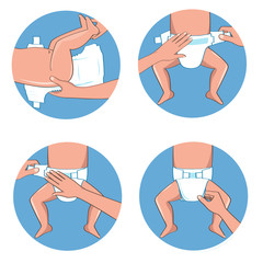 How to wear a diaper steps. Simple manual in illustrations.