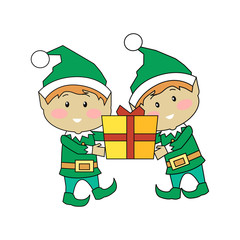 Christmas Elves Holding Gift Box. Xmas Characters