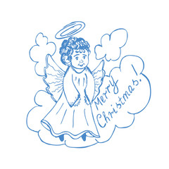 Christmas angel on a white background vector illustration