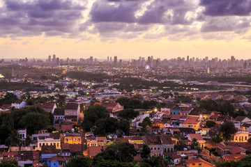 Olinda and Recife at sunset in Pernambuco, Brazil.