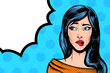 Pop Art Vintage advertising poster comic girl with speech bubble. Confused thinking pretty girl