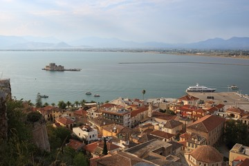 View of the old part of Nafplio town from Palamidi castle, Greece