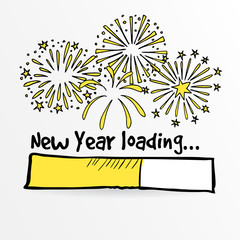 Loading bar with fireworks, new year, anniversary or party concept. Vector illustration sketch
