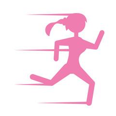 pink silhouette girl running sport vector illustration eps 10