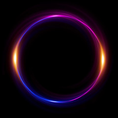 Abstract neon background. luminous swirling bunner. Glowing spiral.  Shine round frame with light circles light effect. Glowing cover.  Space for message. Glossy. LED ellipse. Glint