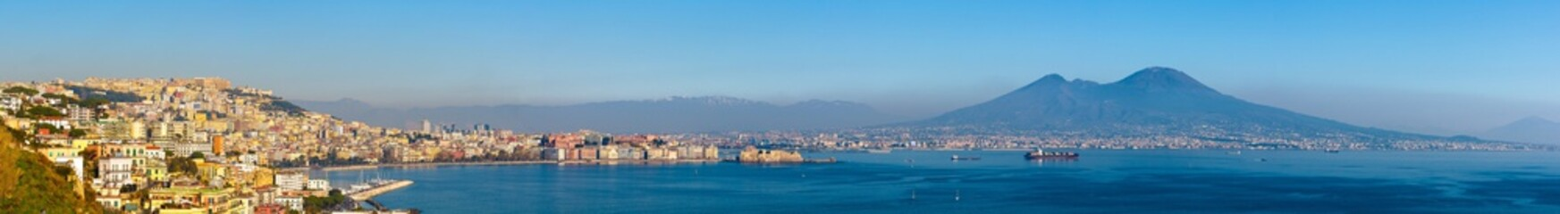 Views of Naples and Mount Vesuvius on a sunny day