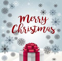 красивая рождественская открытка с рождественским подарком
