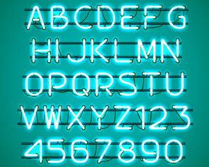 Glowing blue Neon Alphabet with letters from A to Z and digits from 0 to 9 with wires, tubes, brackets and holders. Shining and glowing neon effect. Vector illustration.