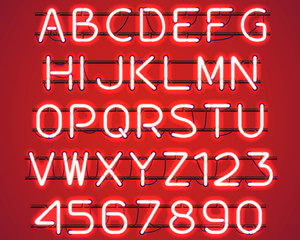 Glowing Red Neon Alphabet with letters from A to Z and digits from 0 to 9 with wires, tubes, brackets and holders. Shining and glowing neon effect. Vector illustration.