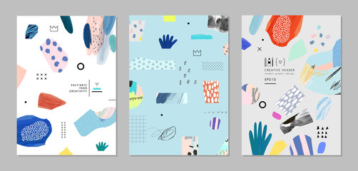 Collection of trendy creative cards with different shapes and textures. Vector