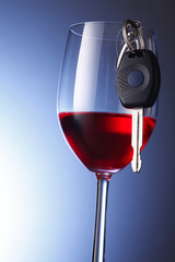 red wine with car key
