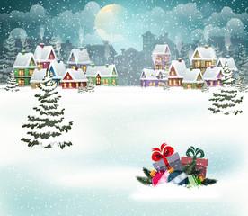 Winter holiday city landscape
