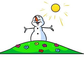 Christmas snowman character summer flowers cartoon illustration isolated image