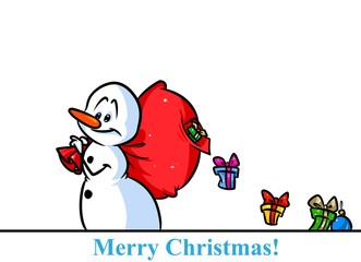 Christmas snowman character gifts bag cartoon illustration isolated image