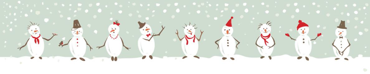 Funny snowman / Horizontal narrow banner - Christmas story