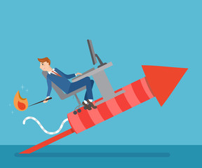 Businessman on rocket with computer. Man flying on a rocket. Trying to set it on fire to growth his career track.