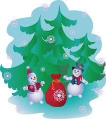 Snowmen with gifts. Vector image. Design for banner, poster, greeting cards, flyers.