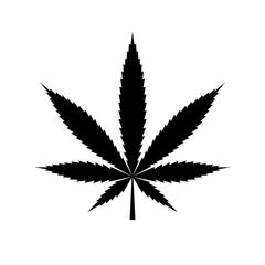 Cannabis leaf icon. Black icon isolated on white background. Marijuana silhouette. Simple icon. Web site page and mobile app design vector element.