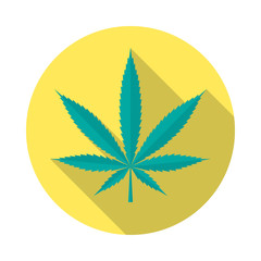 Cannabis leaf icon with long shadow. Flat design style. Round icon. Marijuana silhouette. Simple circle icon. Modern flat icon in stylish colors. Web site page and mobile app design vector element.