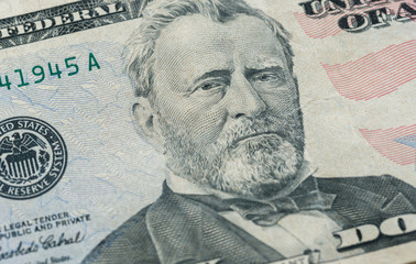 Ulysses S. Grant face on US fifty or 50 dollars bill macro