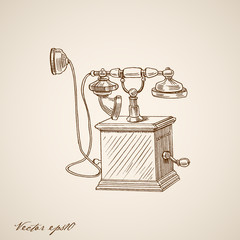 Engraving hand vector old-fashioned phone communication