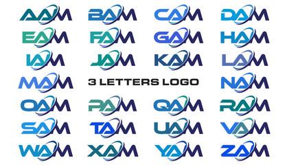 3 letters modern generic swoosh logo AAM, BAM, CAM, DAM, EAM, FAM, GAM, HAM, IAM, JAM, KAM, LAM, MAM, NAM, OAM, PAM, QAM, RAM, SAM, TAM, UAM, VAM, WAM, XAM, YAM, ZAM
