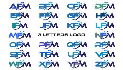 3 letters modern generic swoosh logo AFM, BFM, CFM, DFM, EFM, FFM, GFM, HFM, IFM, JFM, KFM, LFM, MFM, NFM, OFM, PFM, QFM, RFM, SFM, TFM, UFM, VFM, WFM, XFM, YFM, ZFM