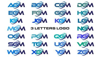 3 letters modern generic swoosh logo AGM, BGM, CGM, DGM, EGM, FGM, GGM, HGM, IGM, JGM, KGM, LGM, MGM, NGM, OGM, PGM, QGM, RGM, SGM, TGM, UGM, VGM, WGM, XGM, YGM, ZGM