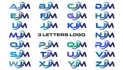 3 letters modern generic swoosh logo AJM, BJM, CJM, DJM, EJM, FJM, GJM, HJM, IJM, JJM, KJM, LJM, MJM, NJM, OJM, PJM, QJM, RJM, SJM, TJM, UJM, VJM, WJM, XJM, YJM, ZJM