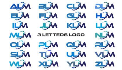 3 letters modern generic swoosh logo ALM, BLM, CLM, DLM, ELM, FLM, GLM, HLM, ILM, JLM, KLM, LLM, MLM, NLM, OLM, PLM, QLM, RLM, SLM, TLM, ULM, VLM, WLM, XLM, YLM, ZLM