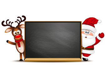 Christmas background reindeer and Santa Claus
