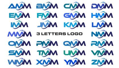 3 letters modern generic swoosh logo AMM, BMM, CMM, DMM, EMM, FMM, GMM, HMM, IMM, JMM, KMM, LMM, MMM, NMM, OMM, PMM, QMM, RMM, SMM, TMM, UMM, VMM, WMM, XMM, YMM, ZMM