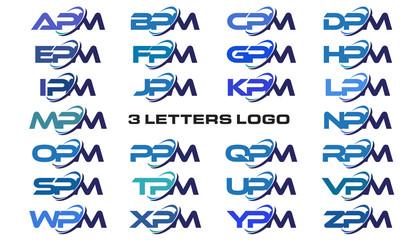 3 letters modern generic swoosh logo APM, BPM, CPM, DPM, EPM, FPM, GPM, HPM, IPM, JPM, KPM, LPM, MPM, NPM, OPM, PPM, QPM, RPM, SPM, TPM, UPM, VPM, WPM, XPM, YPM, ZPM