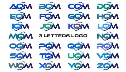 3 letters modern generic swoosh logo AQM, BQM, CQM, DQM, EQM, FQM, GQM, HQM, IQM, JQM, KQM, LQM, MQM, NQM, OQM, PQM, QQM, RQM, SQM, TQM, UQM, VQM, WQM, XQM, YQM, ZQM