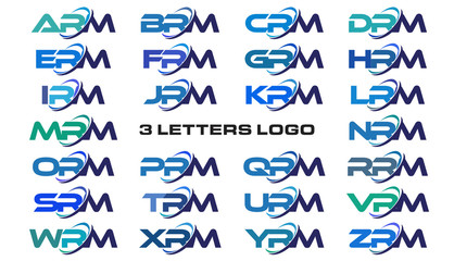 3 letters modern generic swoosh logo ARM, BRM, CRM, DRM, ERM, FRM, GRM, HRM, IRM, JRM, KRM, LRM, MRM, NRM, ORM, PRM, QRM, RRM, SRM, TRM, URM, VRM, WRM, XRM, YRM, ZRM