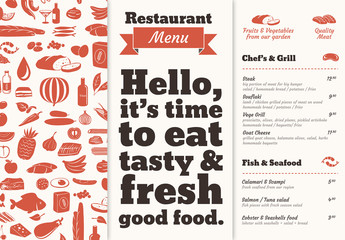 Two Color Illustrated Restaurant Menu Layout